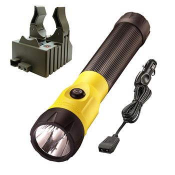 Yellow Streamlight PolyStinger LED Rechargeable Flashlight with DC charge cord and one base