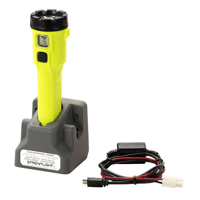 Yellow Streamlight Dualie® Rechargeable LED Flashlight with DC direct wire charge cord and one base