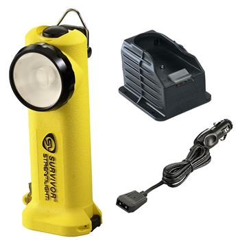 Yellow Streamlight Survivor LED Rechargeable Flashlight with DC Charge Cord and 1 Base